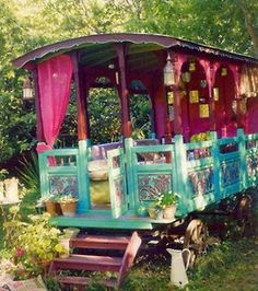 A Gypsy Caravan would be the coolest thing to have in the backyard. Covered outdoor dining, reading nook etc. Net curtains and canvas roman shades to keep out the skeeters and rain.-MRG June 21/14