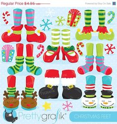 80% OFF SALE Christmas feet clipart by Prettygrafikdesign on Etsy