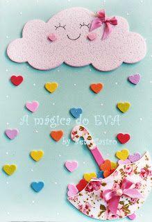 A magica do EVA: Capa de Caderno Chuva de Amor
