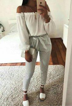 Looks com Calças listradas - Teen Shirts - Ideas of Teen Shirts - Looks com Calças listradas Winter Fashion Outfits, Cute Fashion, Look Fashion, Spring Outfits, Casual Outfits, Classy Fashion, Fashion Ideas, Fashion Spring, Fringe Fashion