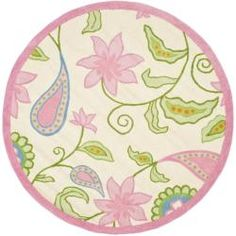 Handmade Children's Daisy Ivory New Zealand Wool Rug (6' Round) | Overstock.com Shopping - The Best Deals on Round/Oval/Square