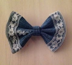 real denim and vintage lace hair bow, summer hair bow, girls hair bow, teen bow, toddler bow on Etsy, $6.49