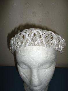Vintage 1970's White Faux Pearl, Seed Pearl, AB Bugle Bead & Ivory Ribbon Woven Tiara/Crown/Halo  - Bridal/Wedding