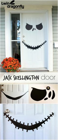 Disney Halloween Decorations you can make yourself! Easily add some Disney fun to your Halloween by turning any white door into a Jack Skellington face from the Nightmare Before Christmas! Deco Porte Halloween, Deco Haloween, Casa Halloween, Halloween Skeletons, Halloween Birthday, Holidays Halloween, Happy Halloween, Halloween Jack, Halloween Porch