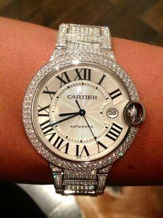 Cartier Ballon Bleu in 18k White Gold Diamonds.