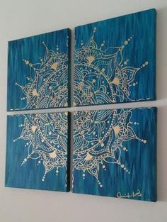 Hand Painted Gold Mandala Acrylic on Canvas por JenniferAnnFineArtInspiring Canvas Wall Art Decorations For Living Room is hand painted on four pieces of canvas, total size of piece is…Learn The Basics of Canvas Painting Ideas And Project Mandala Art, Mandala Painting, Dot Painting, Painting Flowers, Mandala Stencils, Painting Walls, Learn Painting, Hippie Painting, Mandala Canvas