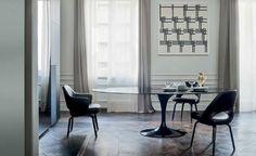 Saarinen Tulip table, black marble top