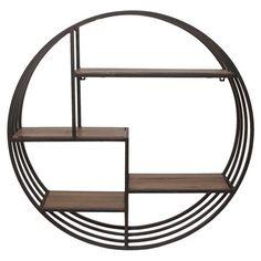 Circular metal wall storage with wood shelves.  Product: Wall rackConstruction Material: Metal and wood C...