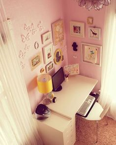 Soft pastel pink office space