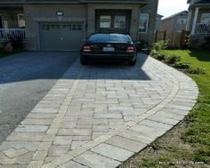 18 wide in front of garage 11 wide at narrowest 3 pavers on one yvers driveway interlocking border brussels block mahogany accent border and logo solutioingenieria Images