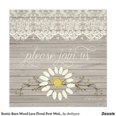 Rustic Barn Wood Lace Floral Post Wedding 5.25x5.25 Square Paper Invitation Card
