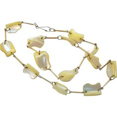 Interesting Irregular Shaped Mother of Pearl Beaded Vintage Necklace. Vintage Jewelry under $25 at Ruby Lane @Ruby Lane