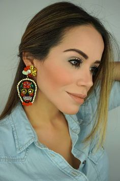 Halloween EarringsHalloween JewelryBlack Skull EarringsGift