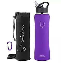 Swig Savvy's Stainless Steel Insulated Water Bottle Wide Mouth 24oz / 32oz Double Wall Design with Straw Flip Cap - Great For Kids - Sweat Proof - Including Water Bottles Pouch (Purple, 32oz)