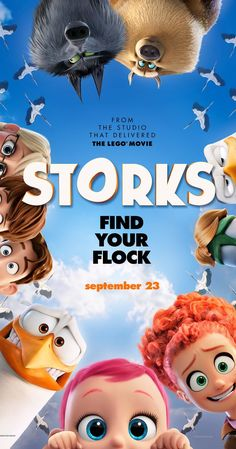 Directed by Nicholas Stoller, Doug Sweetland.  With Andy Samberg, Katie Crown, Kelsey Grammer, Jennifer Aniston. Storks have moved on from delivering babies to packages. But when an order for a baby appears, the best delivery stork must scramble to fix the error by delivering the baby.