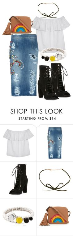 """""""Untitled #4558"""" by pampire ❤ liked on Polyvore featuring Olive + Oak, MARCOBOLOGNA, Kendall + Kylie, Eshvi and Anya Hindmarch"""