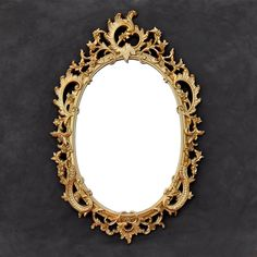 Ornate Gold Syroco Mirror - Vintage Oval Mirror - Floral Acanthus - Victorian Hollywood Regency Baroque Mirror by TheCherryAttic on Etsy