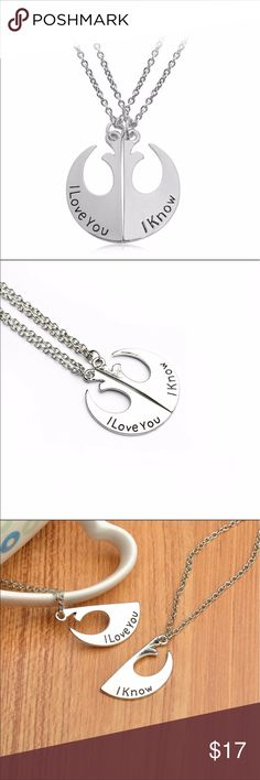 Star Wars Rebel Alliance Badge Couple Necklace Star Wars Rebel Alliance Lapel Pin Rebel Badge Emblem Pendant.  I Love You I Know Lover's Couple Necklace Movie Jewelry.  Comes with two necklaces as shown in the photos. J's Closet Jewelry Necklaces