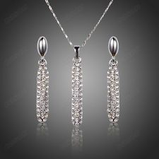 Unique Jewelry - Swarovski Crystal Women Wedding Jewelry Set White Gold Plated Necklace Earrings