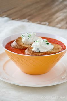 Roasted Bell Pepper Slow Cooker Soup with Goat Cheese and Chive Toasts