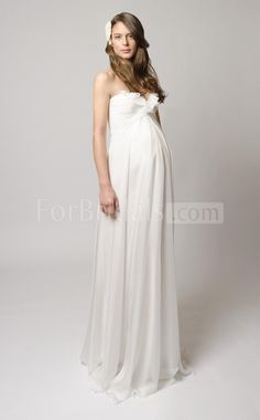 White Lace Maternity Wedding Dress, Off Shoulders Long Sleeves ...