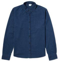 Men's Button Down Shirt, Indigo | Sunspel
