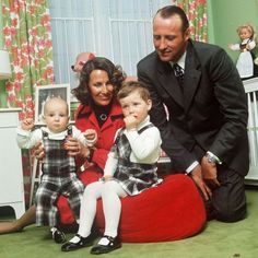 Crown Prince Harald and Crown Princess Sonja of Norway, later King and Queen, with their family: son Prince Haakon, left, and daughter Princess Martha Louise.