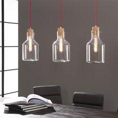 hanglamp 3 L wood/kelk helder glas