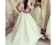A-line Bow Sweep-train Elegant Half-sleeves Sweep-train Wedding  Dress