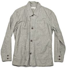 The West is Dead  Shop Jacket Fall 2012  www.thewestisdead.com  Vintage inspired, lightweight hickory-stripe chambray jacket. 4 front patch pockets, interior chest pocket, closed with real burnt horn buttons. Loose fit. MADE IN THE USA