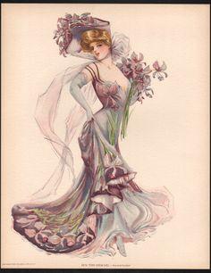 Art Nouveau Woman//Paper Lanterns//Mandolin 1909 Victorian Color Litho Print-10x13