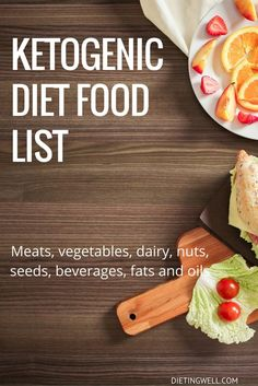 This is a list of ketogenic diet food. It includes meats, vegetables, dairy, nuts, seeds, beverages, fats and oils that are allowed on the ketogenic diet. | https://dietingwell.com/ketogenic-diet-food-list/