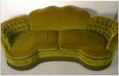 View this item and discover similar for sale at - Chartreuse Velvet fabric, with fringe trim, tufted and finely detailed upholstery. 'C' shaped frame gives you that ' tucked in' feeling of extra cozy intimacy Art Deco Sofa, Art Deco Decor, Art Deco Furniture, Funky Furniture, Unique Furniture, Vintage Furniture, Plywood Furniture, Wood Pallet Furniture, Art Nouveau
