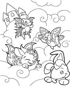 coloring colouring faerieland faerie blumaroo cybunny bruce shoyru cloud clouds castle