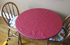I have been thoroughly enjoying the sewing machine I received for Christmas, and have undertaken a number of projects for Mr. Boy's new playroom (more on that in the future). I thought I'd share. Outdoor Tablecloth, Vinyl Tablecloth, Round Tablecloth, Tablecloth Ideas, Vinyl Table Covers, Round Table Covers, Diy Patio, Patio Table, Patio Ideas