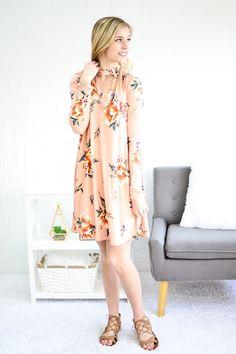 Blush Floral Cutout Neck Dress