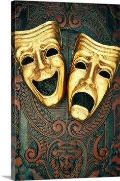 Premium Thick-Wrap Canvas Wall Art Print entitled Golden comedy and tragedy masks on patterned leather, None