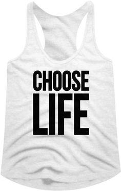 f9fca665e33 Wham! Women s T-shirt - Choose Life Slogan. Women s White Tank Top Shirt