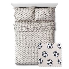 Soccer Sheet Set to mix and match with blues and greens for sporty girls room.