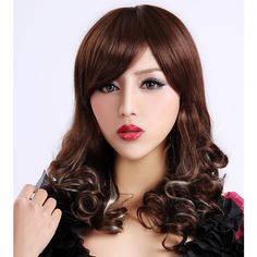 Long Curly Brown Synthetic Wig Side Bang