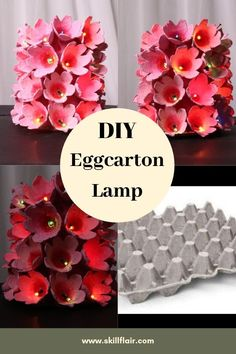 DIY Egg carton Lamp You will love making egg carton crafts when you see how many wonderful items can be made using them. Make projects for all holidays and seasons. This egg carton idea is easy and even simple to do. Egg Carton Art, Egg Carton Crafts, Paper Flowers Diy, Flower Crafts, Sand Crafts, Paper Crafts, Diy Crafts To Sell, Home Crafts, Diy For Kids