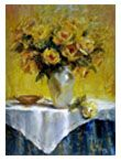 """Oil painting """"Bouquet Of Yellow Roses"""" 40""""x30"""" by artist Nora Kasten"""
