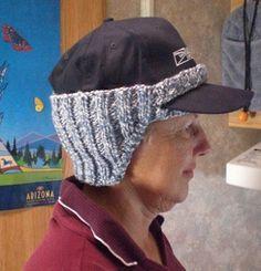 Ear warmer for baseball cap. Free on ravelry.com
