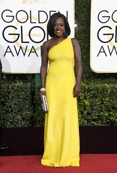 """Viola Davis, won for best performance by an actress in a supporting role in any motion picture for her role in """"Fences,"""" wearing Michael Kors Collection."""