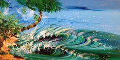 """SOLD... Surf art """"Peels Like An Onion"""" original acrylic by Steven Valiere 12 x 24""""available at The Bright Side Gallery. Email kate@thebrightsidegallery.com for price and details"""