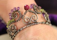 Janice Berkebile's wire and gemstone crown cuff bracelet - from Princess, Queen, or Wonder Woman? Make a Wire Crown Cuff and Find Out! - Jewelry Making Daily