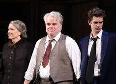 Linda Emond, Philip Seymour Hoffman, Andrew Garfield 'Death Of A Salesman' 2012