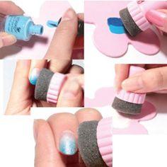 Zauber Nail Art Sponge Schrittweise Änderung Stamper Polnischen Stamping Manicure Nagel Brush/ Set Neues Freies