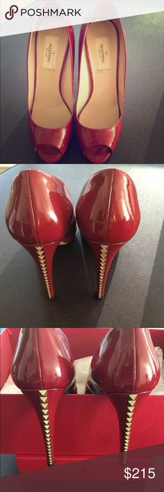 Valentino Rockstud pumps Beautiful red rockstud pumps worn once to a wedding! They are a 7.5B which makes them very narrow and fit more like a 7. Comes with original box and dust bag! Valentino Garavani Shoes Heels