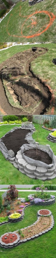 Island bed garden design. Awesome for my front yard. I could plant my fruit trees in the circular part and herbs in the tail.